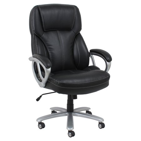Image of Big and Tall Leather Executive Office Chair with Arms Black/Silver - Ofm