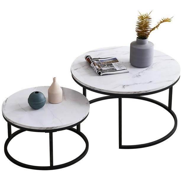2 Piece Set Nesting Round Coffee Table Modern Unique Design Overlapping End Table Walmart Com Walmart Com
