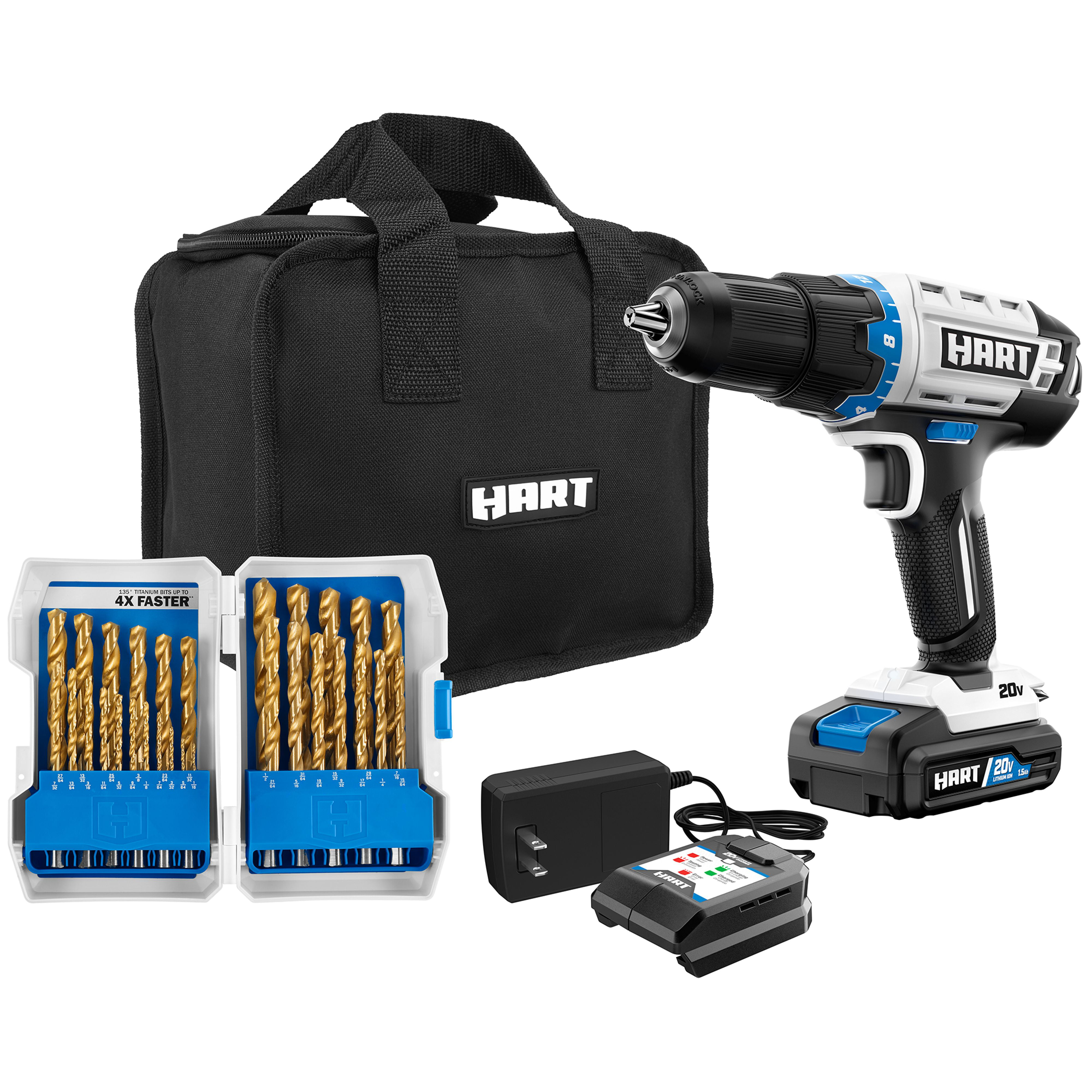 Hart 20 Volt Cordless 1 2 Inch Drill Kit With 29 Piece Accessory And 10 Inch Storage Bag 1 1 5ah Lithium Ion Battery Walmart Com Walmart Com