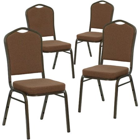 Flash Furniture 4pk HERCULES Series Crown Back Stacking Banquet Chair with Coffee Fabric and 2.5