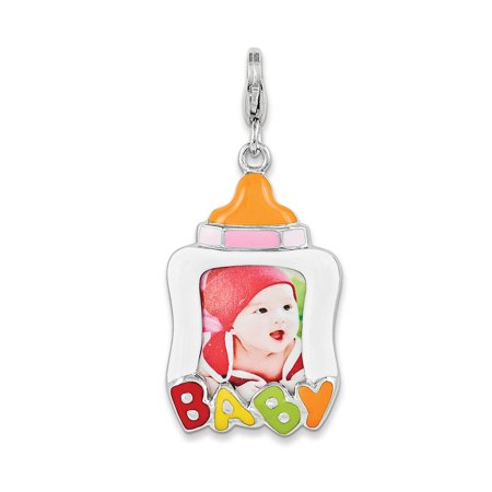 Mia Diamonds Solid 925 Sterling Silver Rhodium Enameled Baby Picture Frame with Lobster