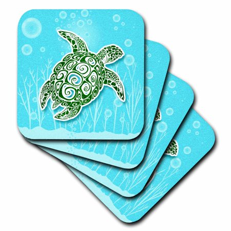 - 3dRose Stylized Green Sea Turtle in Turquoise Blue Water Scrapbook Style - Ceramic Tile Coasters, set of 4
