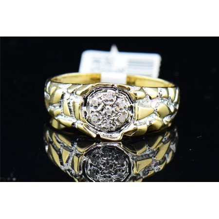 Jewelry For Less - Mens 10K Yellow Gold Nugget Style Round ...