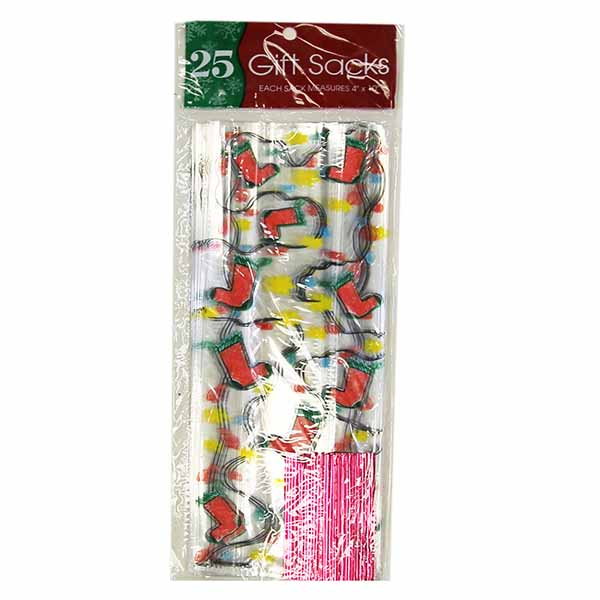 """Cello Plastic """"Stockings"""" Holiday Treat/Gift Bags- Includes Twist Ties (25 Count)"""