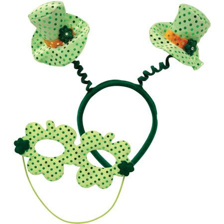Saint Patrick's Day Green Top Hat Head Bopper Headband With Mask Accessory