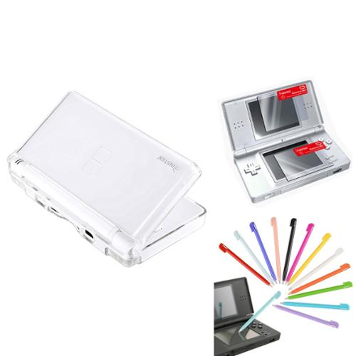 Insten Crystal Case+12pc Plastic Stylus+2-LCD Screen Protector For Nintendo DS Lite