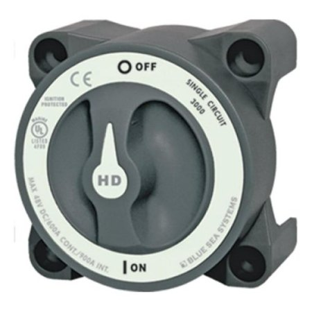 Grey Systems - BLUE SEA SYSTEMS Heavy Duty Battery Switch, MFG# 3000, Grey, 600A cont., 900A int., 32VDC. Positons: single-circuit on-off. / BS-3000 /