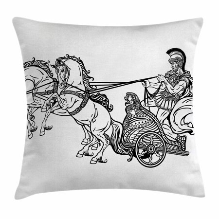 Toga Party Throw Pillow Cushion Cover, Roman Warrior in a Chariot Pulled by Two Horses Historic Carriage Monochrome, Decorative Square Accent Pillow Case, 18 X 18 Inches, Black White, by - Cushion Pull