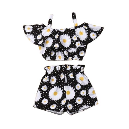 Toddler Kid Baby Girl Sling Tops Pants Shorts 2PCS Casual Outfit Clothes Summer
