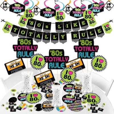 1980/'s Totally 80/'s Whirls Arcade Video Game Birthday Party Decorations 5 Pc