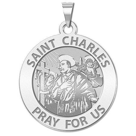 Saint Charles Borromeo W/ Angels Round Religious Medal - 1 Inch Solid 14K White Gold