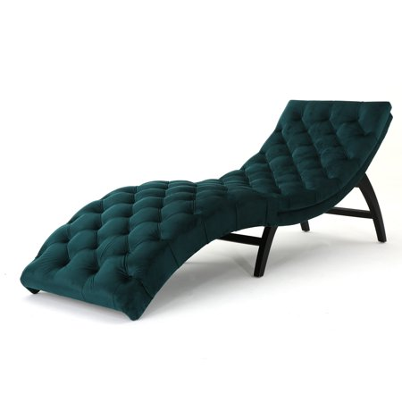 Grasby Traditional Tufted Velvet Chaise Lounge Teal And