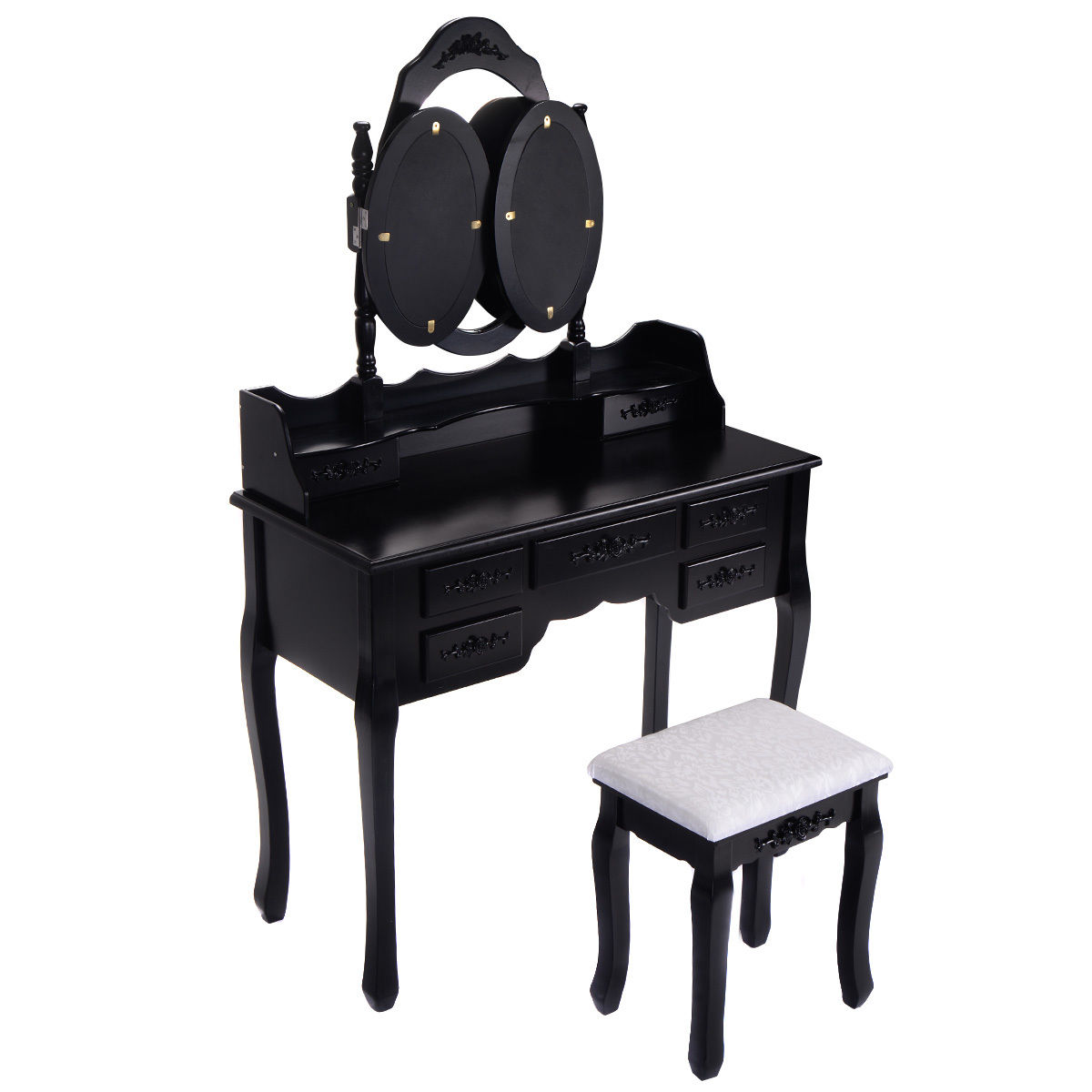 Costway Black Tri Folding Oval Mirror Wood Vanity Makeup Table Set With  Stool U00267 Drawers Bathroom