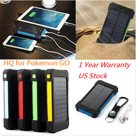 Waterproof 600000mAh Dual USB Portable Solar Battery Charger Solar Power Bank for iPhone, Mobile Cell Phone-Green ()