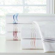 Pointehaven Wave Cotton 300-thread-count Embroidered Pillowcase Set King, White