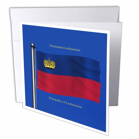 3dRose Flag of Liechtenstein on blue background with Principality of Liechtenstein in English and German, Greeting Cards, 6 x 6 inches, set of 12