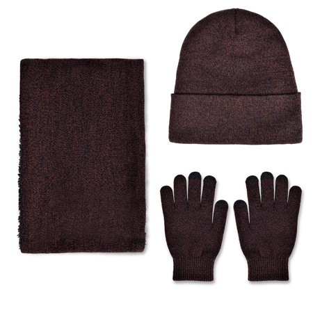 VBIGER Winter Knitted Set Knitted Hat Scarf Gloves for Men and Women, Wine Red, 3
