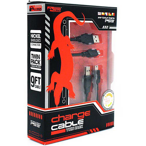 KMD PS3 Charge Cable Twin Pack Komodo