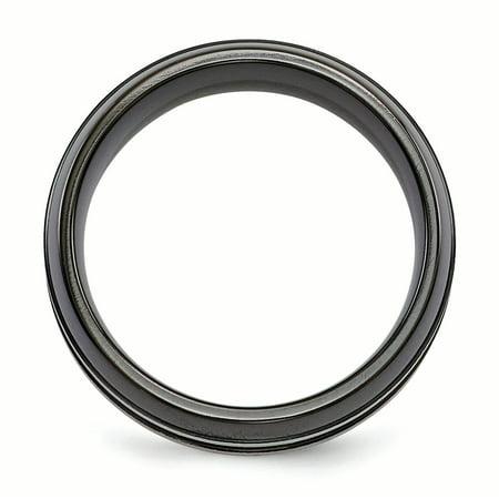 Edward Mirell Titanium Brushed/Polished/Grooved Black Ti 8mm Ring Size 10 - image 3 de 3