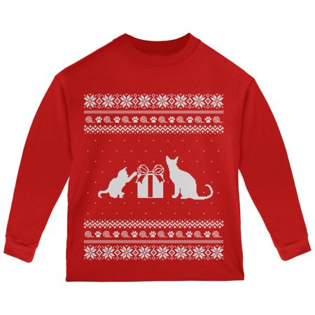 9c39fecfd63d2f Old Glory - Cats Ugly Christmas Sweater Red Toddler Long Sleeve T-Shirt -  Walmart.com