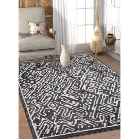 Well Woven  Modern Abstract Soft Grey Off White Area Rug - 5'3 x 7'3