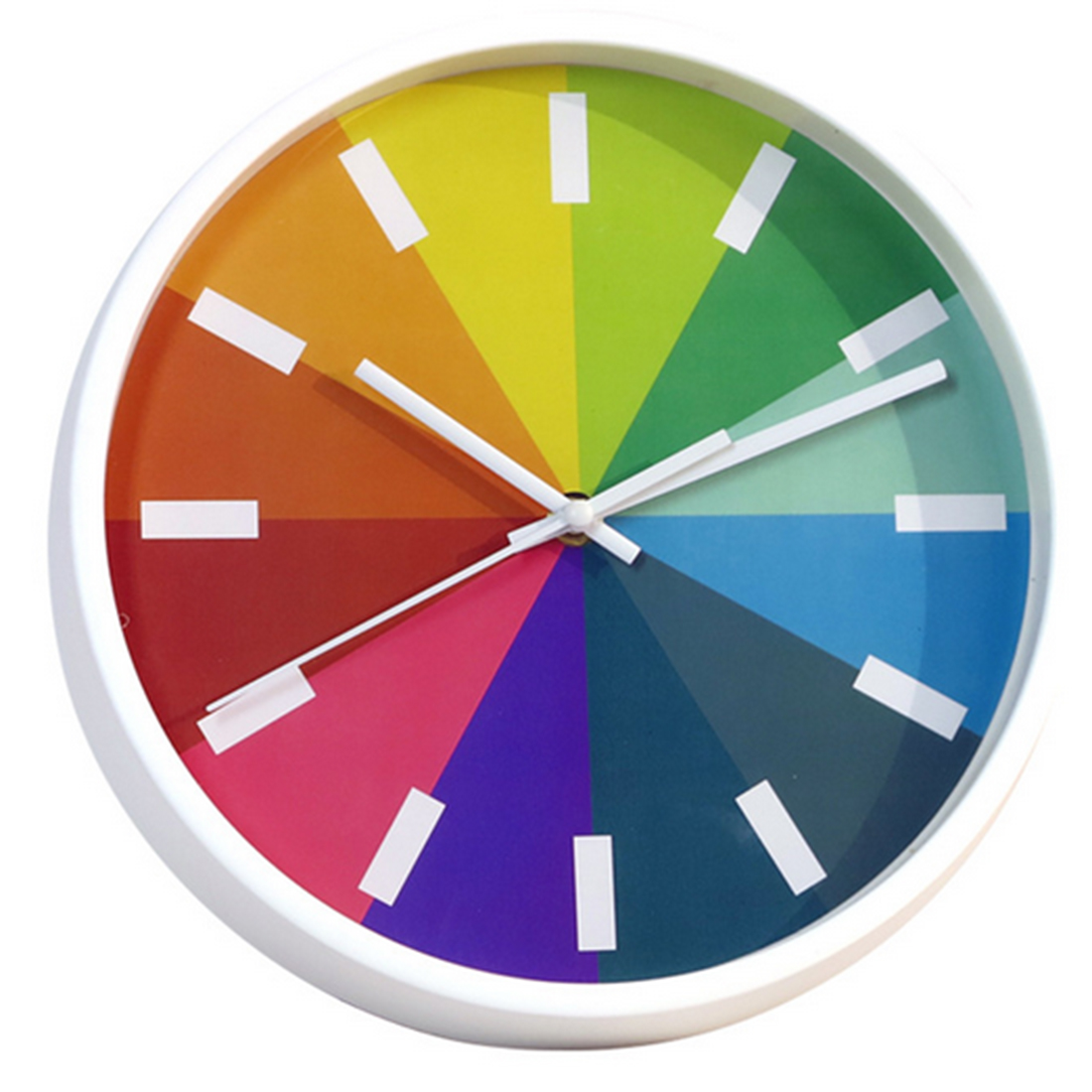 10 Inches Creative Rainbow Round Non-Ticking Slient Wall Clock Children Colorful Home... by