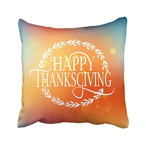 WinHome Art Words Happy Thanksgiving Day Wheat Orange And Blue Gradient Decorative Pillowcases With Hidden Zipper Decor Cushion Covers Two Sides 20x20 inches