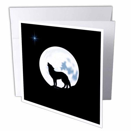 3dRose This artwork features a lone wolf in silhouette howling beneath the bright full moon - Greeting Cards, 6 by 6-inches, set of