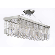 "10 Light 40"" Contemporary Crystal Rectangular Chandelier"