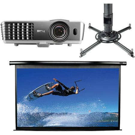 BenQ HT1085ST DLP Short-Throw Home Theater Projector, Elite Screens Electric100H Spectrum Series 100