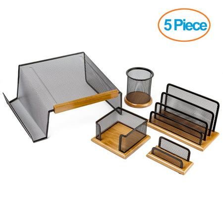 (Halter Executive 5 Piece Mesh Wood Office Desk Set - Phone Stand / Pencil Cup / Business Card Holder / Memo Holder / Letter Holder)