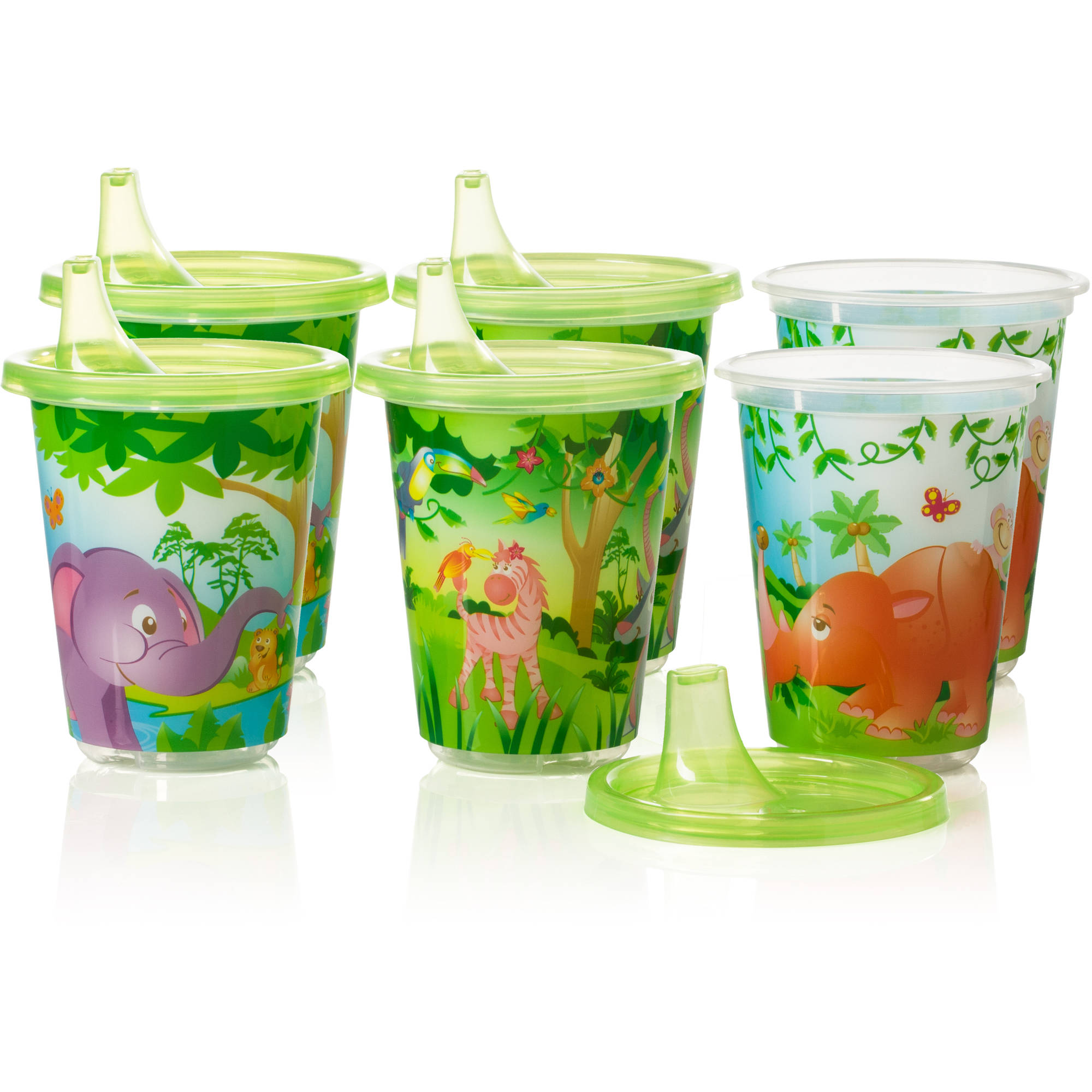 Evenflo Zoo Friends Convenience Sippy Cups, 6-Pack, BPA-Free