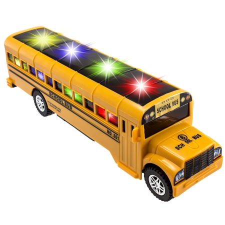 TECHEGE Yellow School Bus Toy for Kids with Light & Sounds