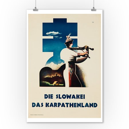 Die Slowakei das Karpathenland Vintage Poster Czech (9x12 Art Print, Wall Decor Travel Poster) Vintage Czech Art
