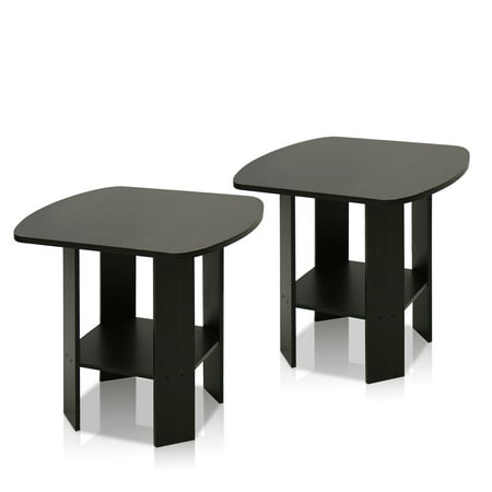 Furinno Simple Design End Table Set of Two, Espresso