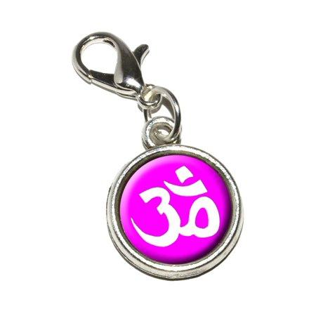 Om Aum Yoga White on Hot Pink Bracelet Charm (Yoga Charms)