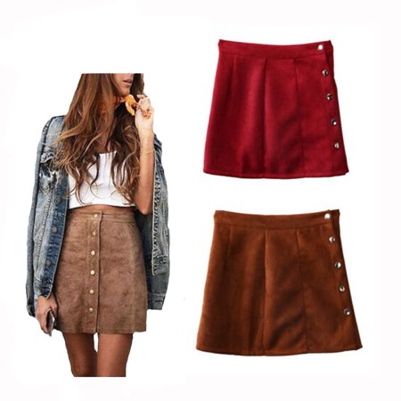 Fashion Elegant Women Ladies Summer Skirts High Waist Single Breasted Solid Slim A-Line Suede Leather Mini Skirts