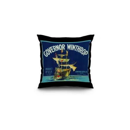 Governor Winthrop Apple Label  Blue   16X16 Spun Polyester Pillow  Black Border