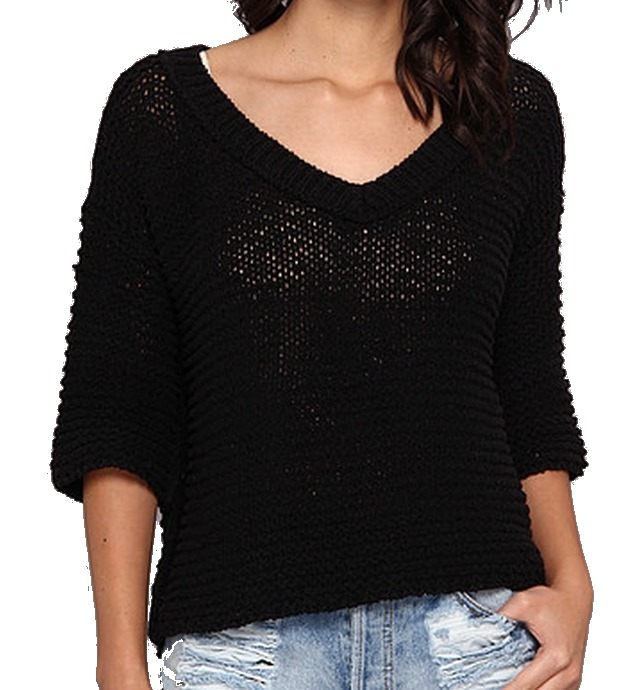 Free People NEW Black Women's Size Small S V-Neck Chunky Knit Sweater