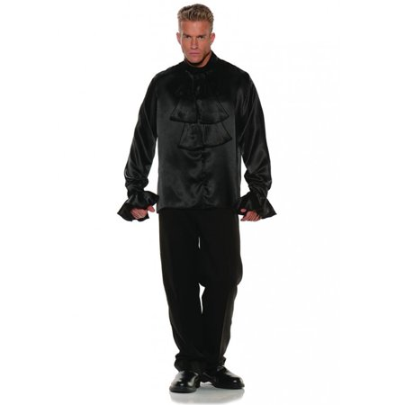 Black Satin Goth Shirt Vampire Pirate Adult Mens Halloween Costume