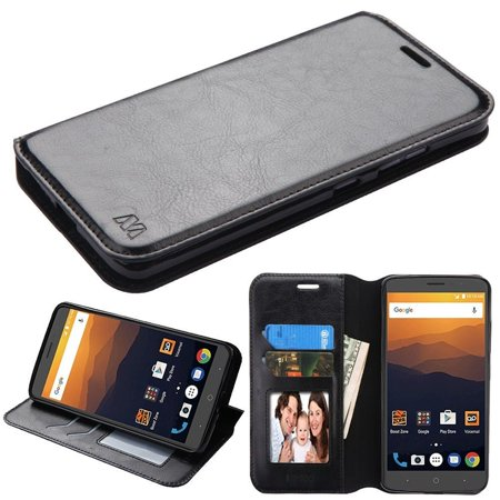 Insten For Zte Max Xl N9520 Black PU Leather Fabric Case W/Stand W/Photo Display