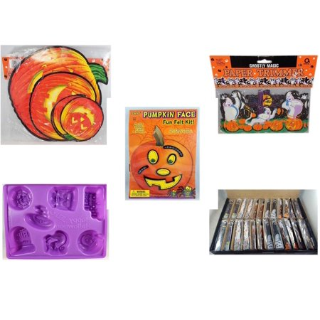 Halloween Fun Gift Bundle [5 Piece] - Classic Pumpkin Cutouts Set of 9 - Ghostly Magic Paper Trimmer 3.75 in x 9 ft. - Darice Pumpkin Face Fun Felt Kit - Stitches - Happy  Jell-O Mold - Large Box  W