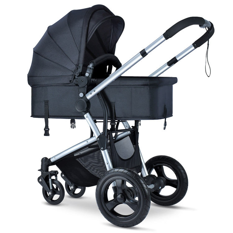 HEAO Baby Stroller for Newborn and Toddler Convertible and Reclining Seat Large PU wheel - Black - Walmart.com