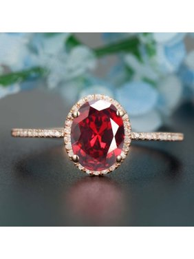 401845143e365b Product Image 1.25 Carat Oval Cut Real Ruby and Diamond Engagement Ring in 18k  Gold Over Sterling Silver. JeenMata