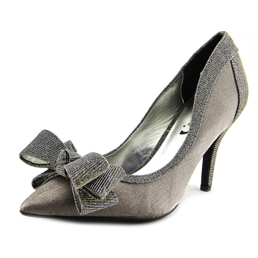 J. Renee Amazze Women Pointed Toe Canvas Silver Heels by J. Renee