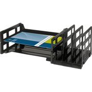 Business Source Combo 2-Tray Vertical Organizer, Black, 1 Each (Quantity)