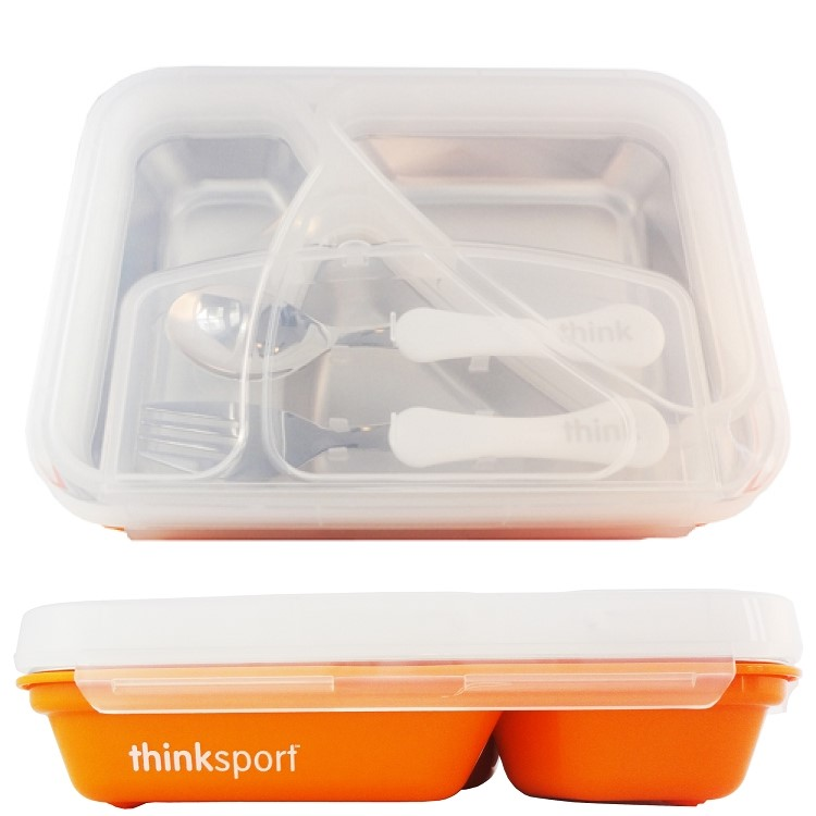 Thinksport BPA Free Airtight Stainless Steel Lunch Container with Fork and Spoon, Orange