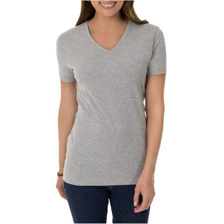 Time and Tru Women's Essential Short Sleeve V-Neck (Daughter Womens Cap Sleeve T-shirt)