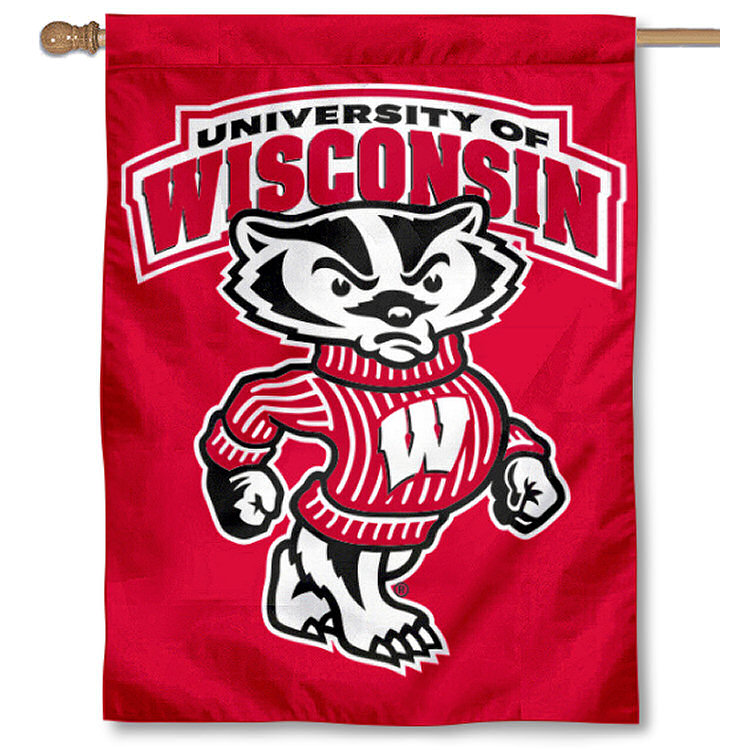 "Wisconsin Badgers 30"" x 40"" Two Sided House Flag"