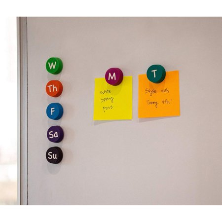 Days of the Week Magnets - 7-Piece Soft Rubber Monday to Sunday Magnets, Refrigerator Magnets for Scheduling and Home Organization, 7 Assorted Colors, 1-Inch in Diameter - image 1 of 5